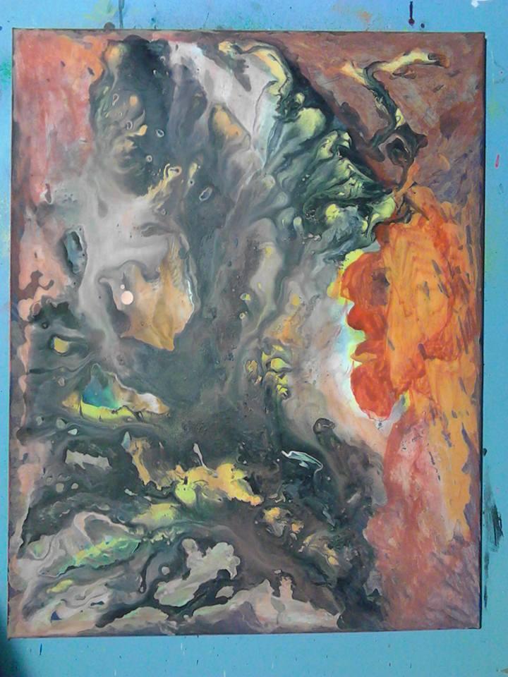 Vivre dans l'ombre des autres: nébuleuse des particules d'ombres, Tableau peint par Hermann Cebert, réalisé sur une période de cinq mois par coulage à 80%.