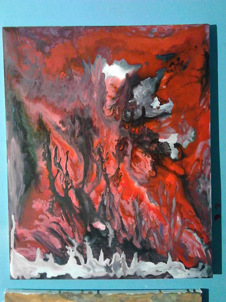 Traverser le sang du peuple, les anges de la violence, tableau peint par Hermann Cebert réalisé par coulage